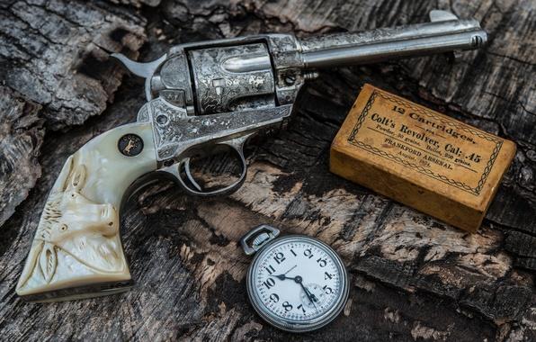 Картинка оружие, часы, ствол, патроны, револьвер, рукоять