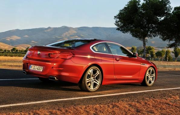 Картинка Красный, Авто, Дорога, BMW, БМВ, Купэ, 6 series