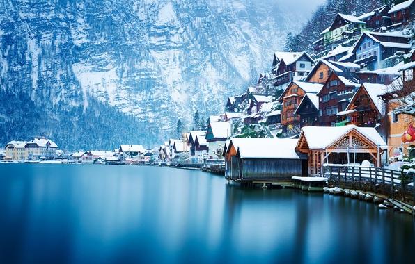 Картинка зима, снег, пейзаж, горы, озеро, дома, Австрия, Hallstatt