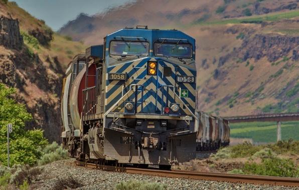 Картинка фон, рельсы, поезд, вагоны, железная дорога, локомотив