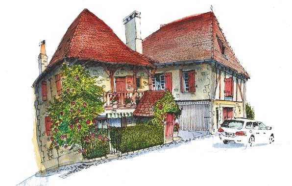 Картинка город, дом, краски, рисунок, Франция, автомобиль, Ганьяк-Сюр-Сер