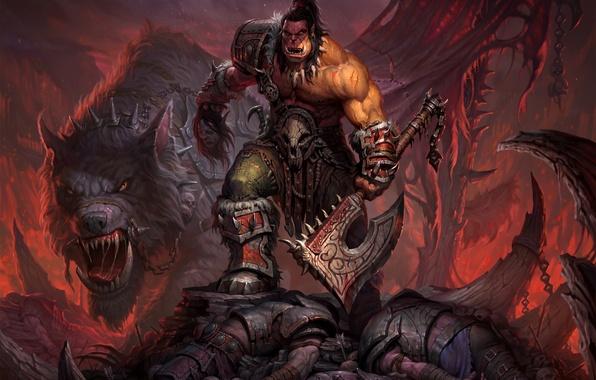 Картинка волк, воин, World of Warcraft, топор, цепи, Warcraft, орк, wow, warlords of draenor, Grommash Hellscream