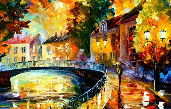 Картинка мост, город, дождь, акварель