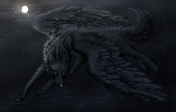 Картинка ночь, луна, крылья, арт, Волк, art, Night Dreams, Dark_Sheyn