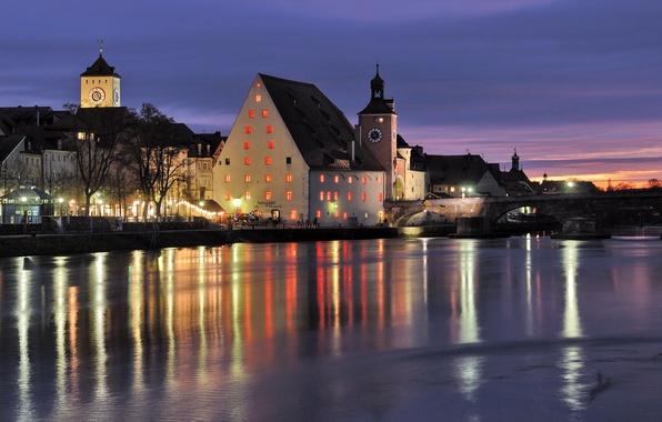 Картинка ночь, мост, city, река, часы, Германия, Бавария, ресторан, river, bridge, Germany, beautiful, иллюминация, Bavaria, часовни, …