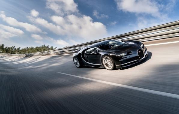 Картинка небо, фон, Бугатти, Bugatti, суперкар, передок, гиперкар, Chiron, Широн