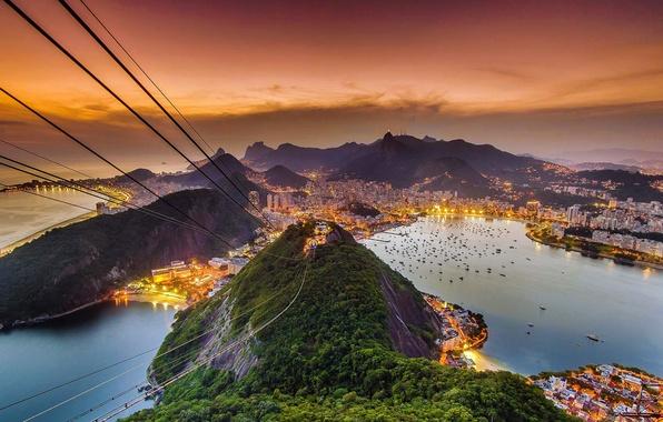 Картинка море, пейзаж, вид, гора, зарево, Бразилия, Рио-де-Жанейро, канатная дорога, Сахарная голова