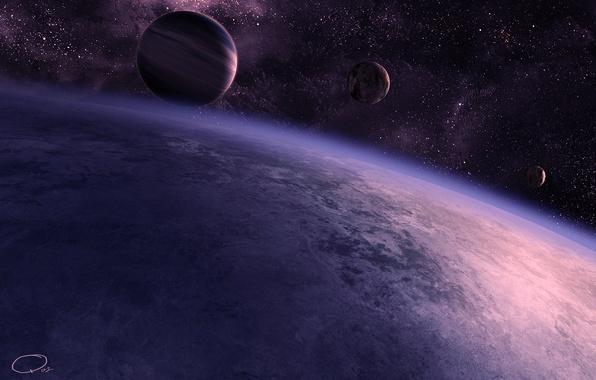 Картинка космос, звезды, планеты, спутник, атмосфера, арт, QAuZ
