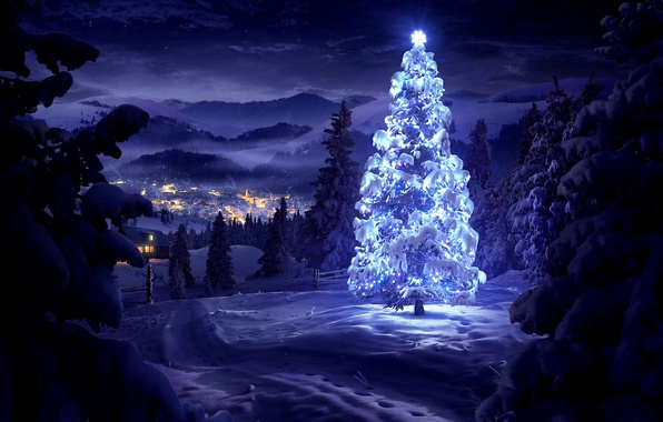 Картинка зима, снег, деревья, пейзаж, горы, ночь, природа, огни, дома, долина, Новый Год, Рождество