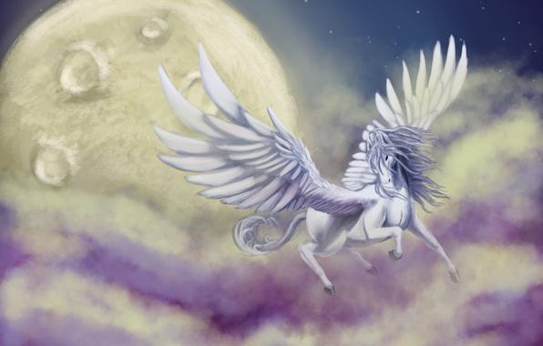 Картинка небо, облака, полет, фантастика, животное, крылья, арт, пегас