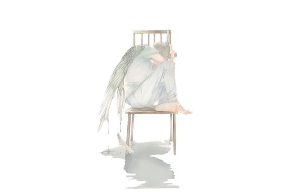 Картинка капли, пистолет, крылья, ангел, арт, стул, парень
