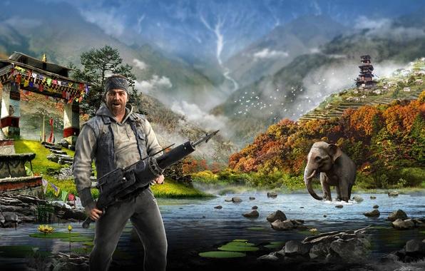 Картинка Вода, Горы, Слон, Гарпун, Ubisoft, Far Cry 4, Кират