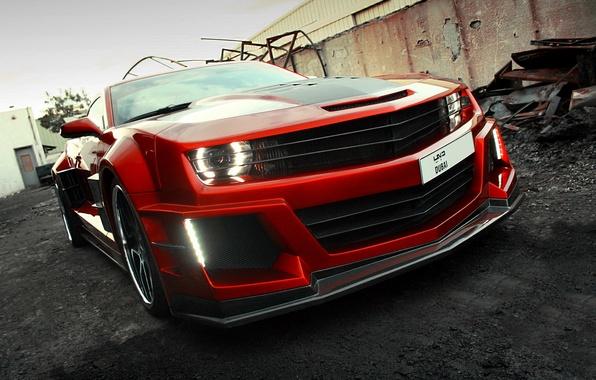 Картинка car, авто, карбон, supercar, sportcar, красная, вид спереди, carbon, Chevrolet Camaro, chrome, Chevy Camaro