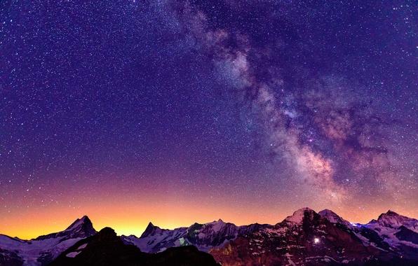 Картинка небо, звезды, свет, горы, ночь, Швейцария, Альпы, млечный путь
