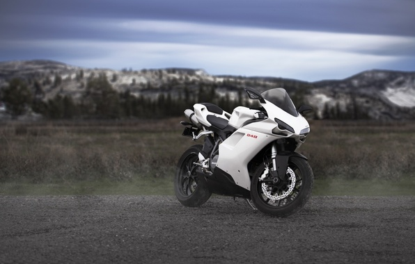 Картинка белый, небо, облака, горы, мотоцикл, white, bike, ducati, дукати, 848