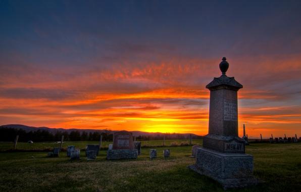 Картинка закат, кладбище, Lakeview
