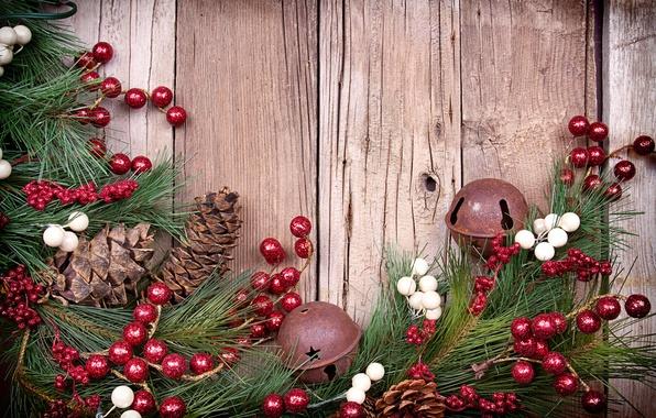 Картинка украшения, ягоды, ёлка, шишки