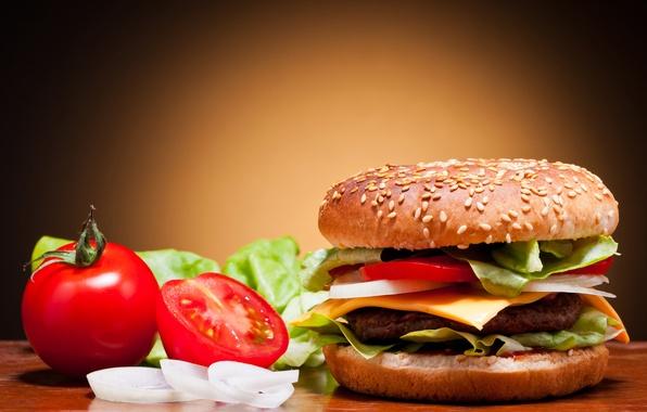 Картинка сыр, лук, овощи, помидоры, гамбургер, котлета, булка, огурцы, кунжут, фаст фуд, fast food