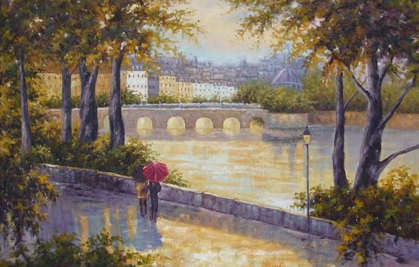 Картинка деревья, люди, города, настроение, пейзажи, рисунок, человек, картина, арт, рисунки, картины, мосты