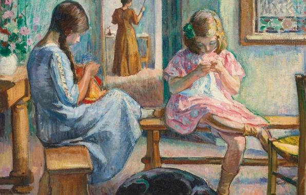 Картинка комната, девочки, собака, картина, жанровая, Анри Лебаск, Sewing Girls