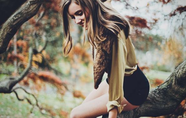 Картинка девушка, деревья, волосы, шорты