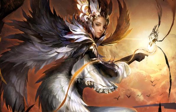 Картинка девушка, облака, птицы, магия, крылья, арт, legend of cryptids
