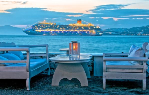Картинка море, небо, облака, горы, огни, стол, отдых, корабль, кресло, вечер, Греция, лайнер, остров Миконос