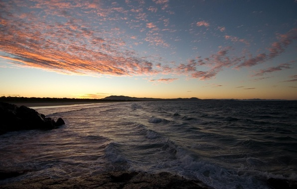 Картинка море, волны, лето, пейзаж, закат, природа, камни, вечер