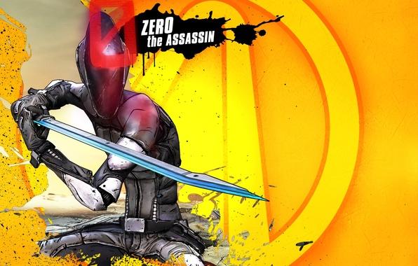 Картинка фантастика, меч, лого, парень, Убийца, Assassin, убийца, Зеро, RPG, 2K Games, Borderlands 2, Gearbox Software, …
