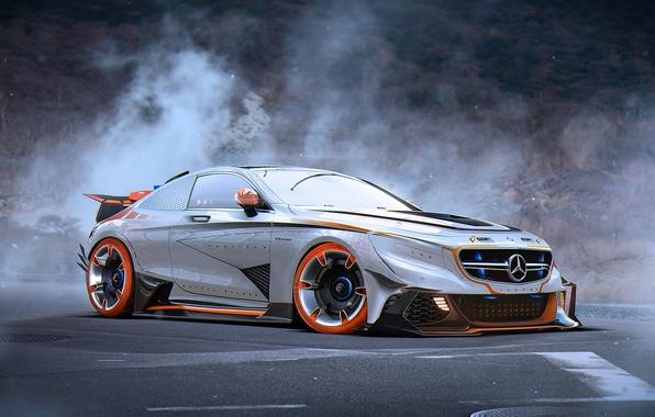 Картинка Mercedes-Benz, Car, AMG, Tuning, Future, Silver, S63, by Khyzyl Saleem