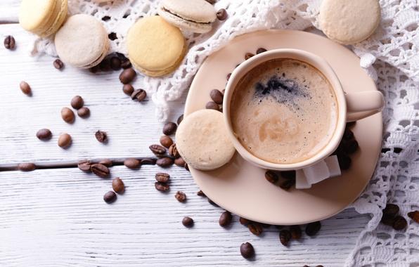 Обои картинки фото coffee, beans, cup, кофе, чашка, пирожное