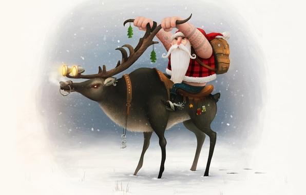 Картинка снег, фон, олень, Новый год, рога, байкер, Санта Клаус, Happy New Year, Santa Clause, biker