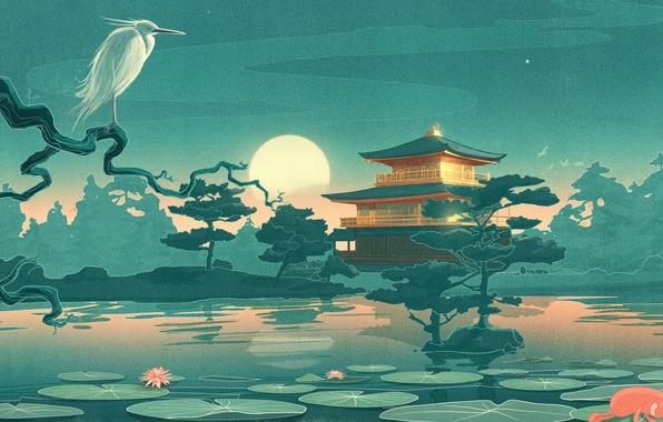 Картинка небо, деревья, пейзаж, ночь, озеро, дом, луна, рисунок, япония, лилия, храм, цапля