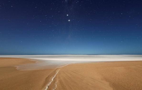 Картинка пляж, небо, звезды, ночь, океан, вечер, созвездия