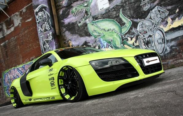 Картинка фон, стена, Audi, тюнинг, Ауди, зелёный, суперкар, графити, tuning, передок, V10, В10, XXX Performance