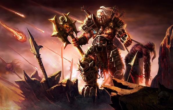 Картинка Blizzard, Art, Diablo 3, Warrior, Weapons, Blizzard Entertainment, Fan Art, Demon, Barbarian, Armor, Video Game, …