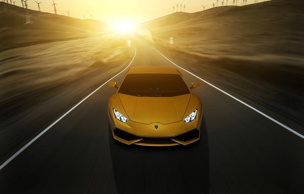 Картинка Lamborghini, yellow, sunset, front, LP 610-4, Huracan, LB724