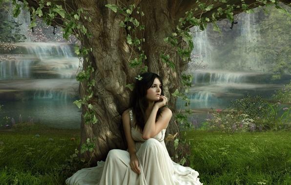 Картинка девушка, дерево, платье