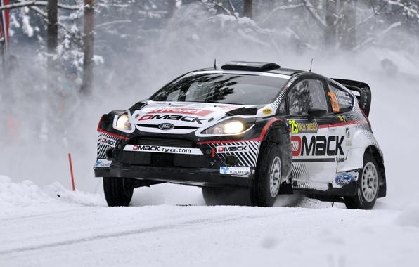 Картинка Ford, Зима, Авто, Снег, Спорт, Машина, Гонка, Капот, Фары, WRC, передок, Rally, Fiesta