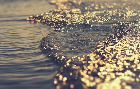 Картинка море, волны, вода, свет, блики, игра, боке, перелив