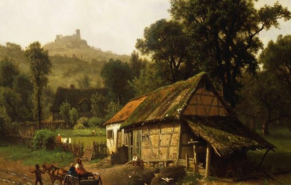 Картинка пейзаж, дом, картина, повозка, Альберт Бирштадт, В Предгорьях