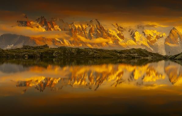 Картинка небо, облака, снег, горы, озеро, отражение, Франция, sky, France, mountains, clouds, snow, reflection, French Alps, …