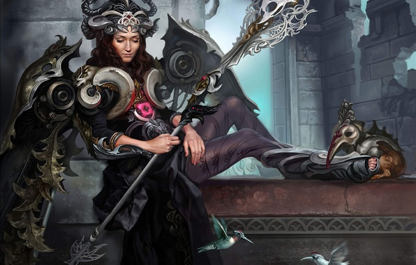 Картинка девушка, птицы, крылья, доспехи, корона, колибри, посох, Арт, богиня