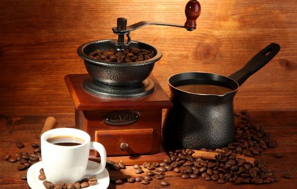 Картинка кофе, кружка, напиток, корица, зёрна, турка, кофемолка