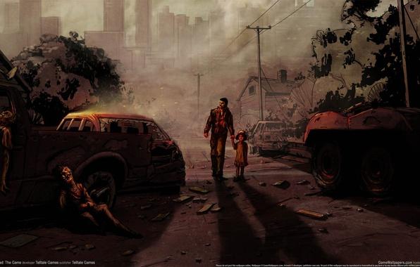 Картинка апокалипсис, игра, рисунок, ребенок, арт, зомби, мужчина, art, the game, ходячие мертвецы, the walking dead