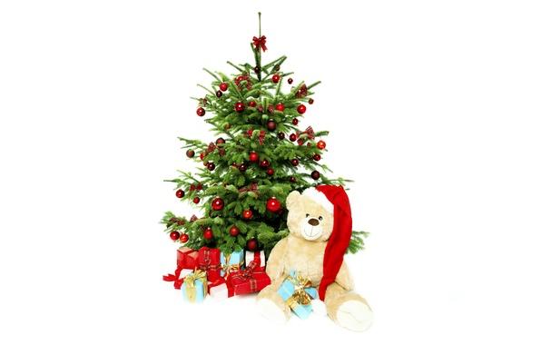 Картинка праздник, шары, шапка, игрушки, елка, мишка, подарки, красные, белый фон, Новый год, бантики, плюшевый