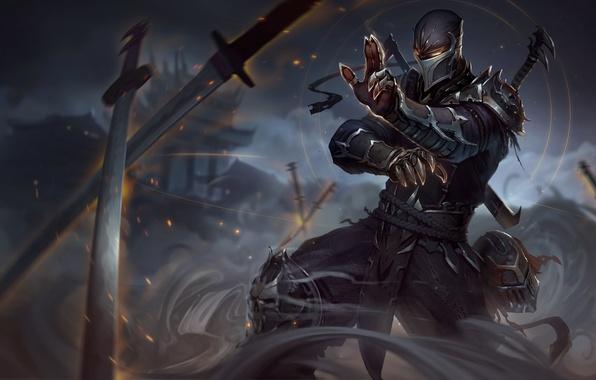 Картинка дым, рисунок, меч, кожа, маска, арт, шлем, sword, броня, ниндзя, armor, smoke, art, клинок, leather, …