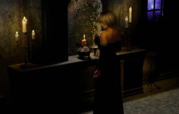Картинка девушка, цветы, ночь, готика, череп, звёзды, свечи, окно, girl, Night, stars, candle