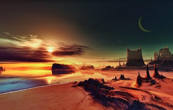 Картинка песок, море, небо, космос, пейзаж, рендеринг, скалы, берег, Луна, space, Moon, sky, sea, landscape, rendering, …