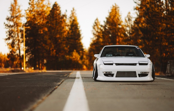 Обои nissan car nature front yellow stance 240sx